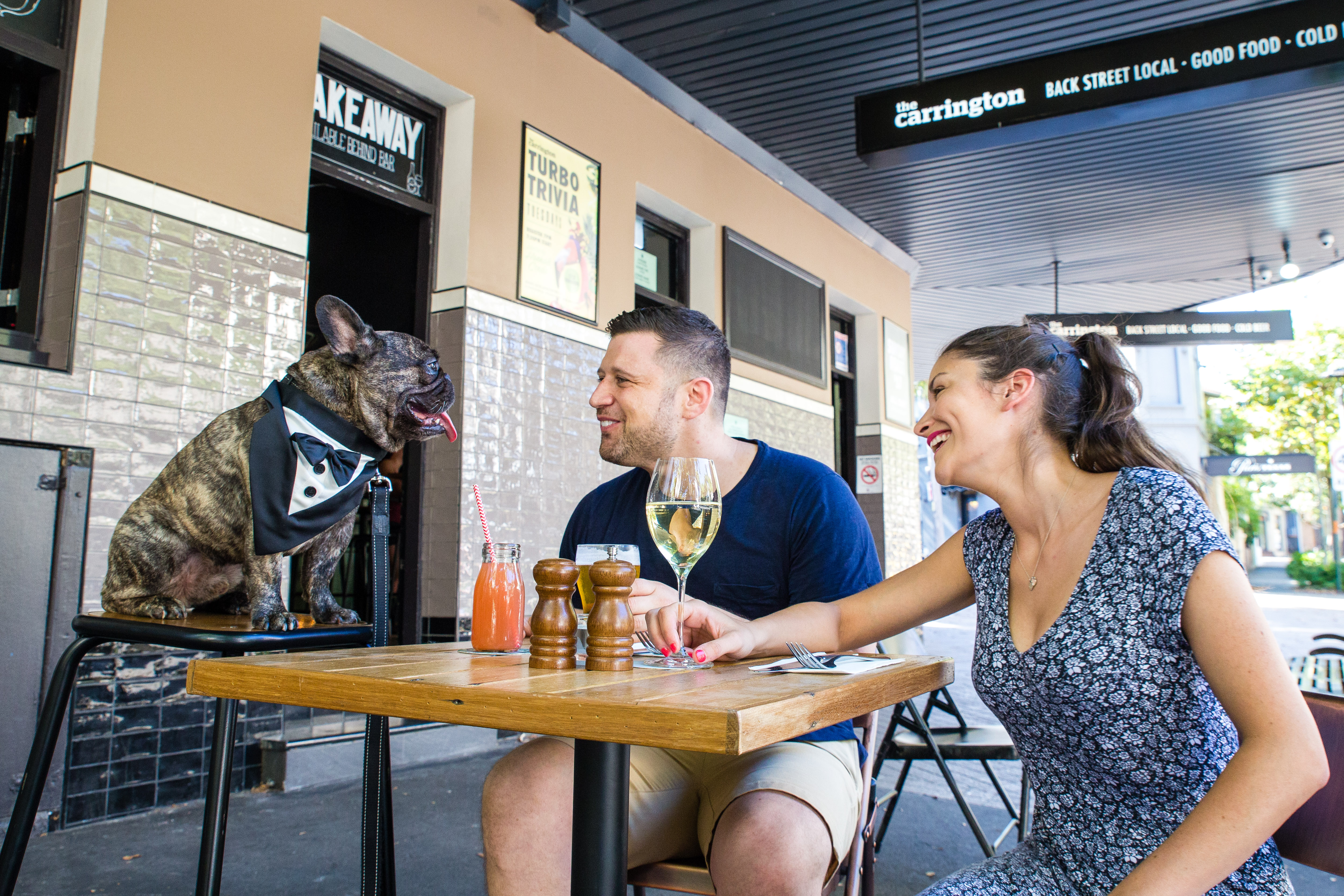 A man and woman drink wine with their french bulldog seated at the table of a bar