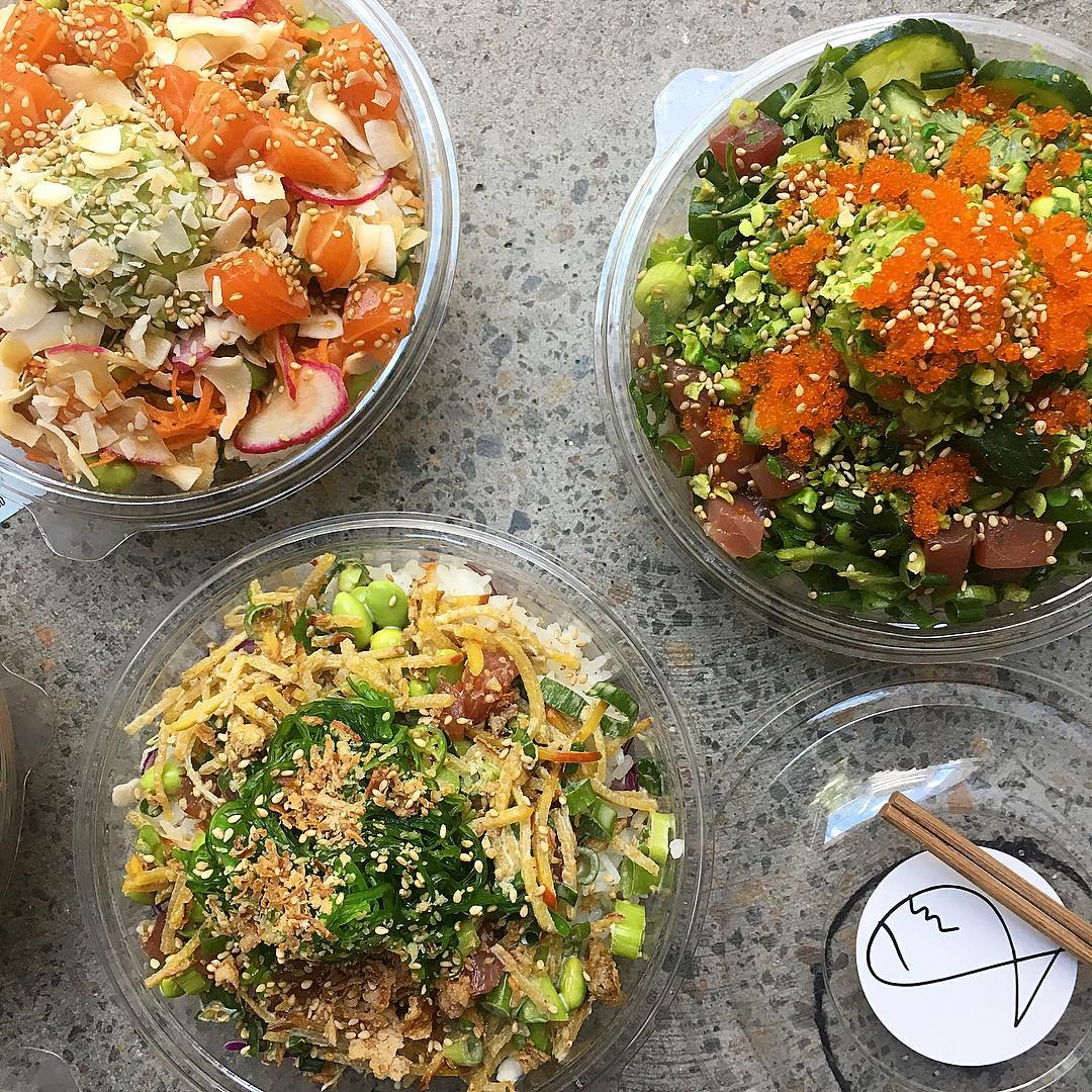 Poke bowls topped with sashimi, salmon roe and more from Fishbowl