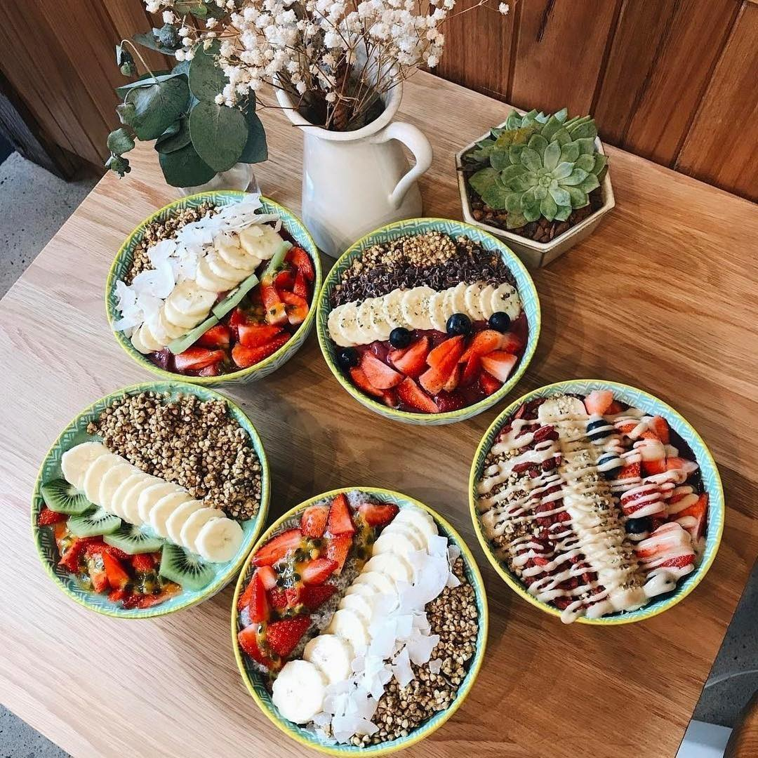 Variety of acai bowls from Sydney cafe Bare Naked Bowls