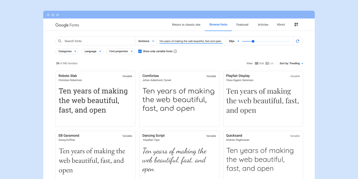 Google Fonts User Interface