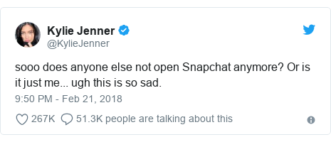 "Tweet by Kylie Jenner: ""So does anyone else not open Snapchat any more? Or is it just me. Ugh, this is so sad."""