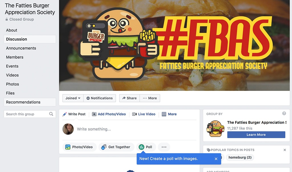 fatties burger appreciation society facebook group burger holding phone and fries