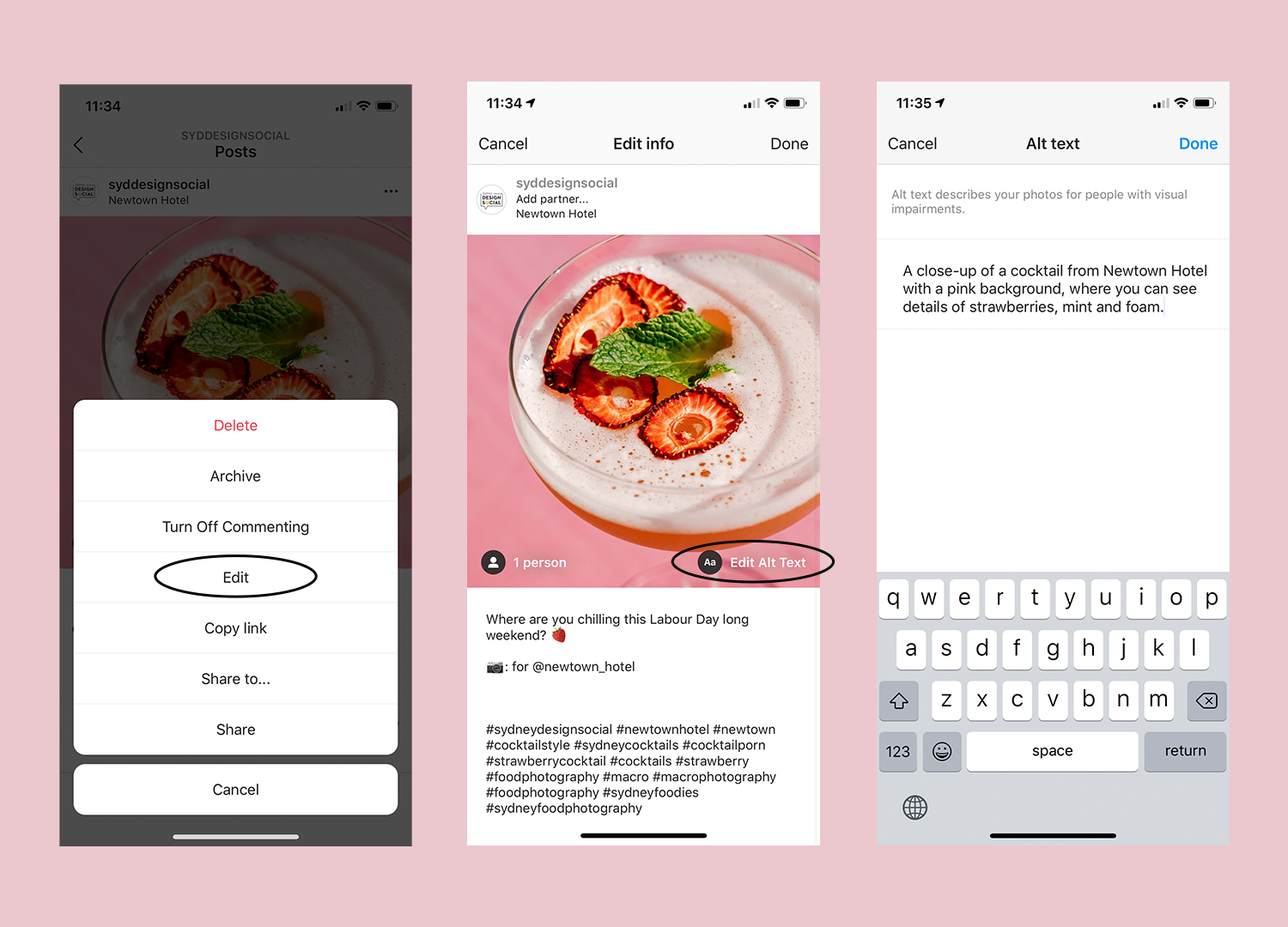 Screenshots showing how to add alt text to an Instagram post