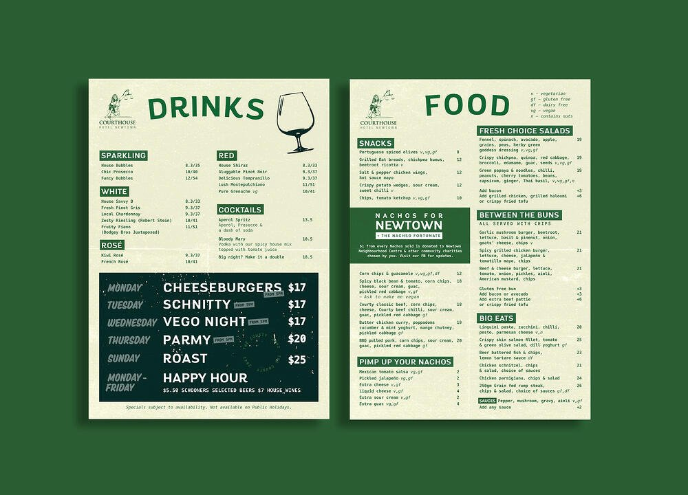 A menu with a good layout that is easy to read