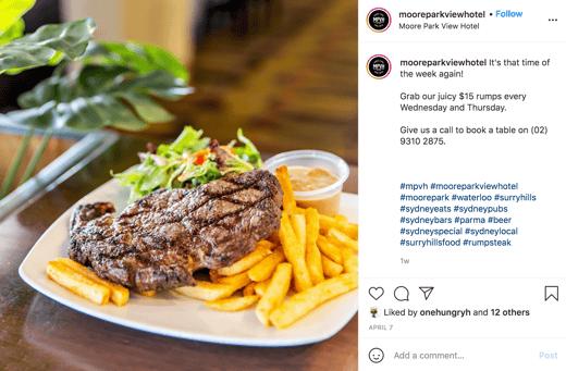 Screen shot of Moore Park View Hotel Instagram