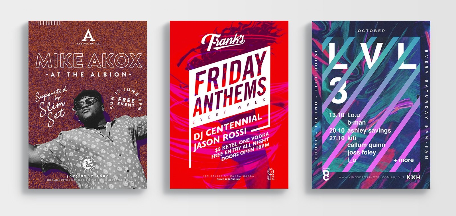 Event posters designed by Sydney Design Social