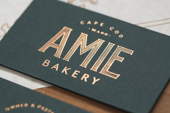 Business card design with gold foil