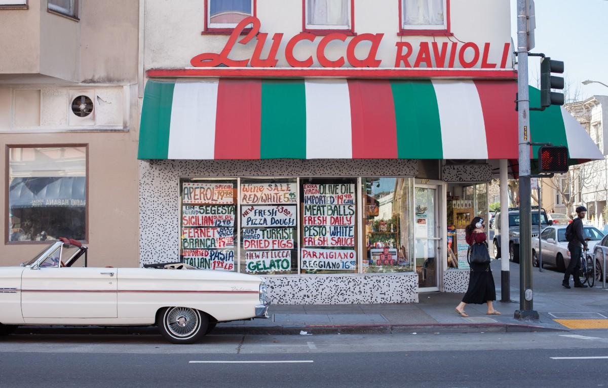 Retro Italian deli storefront in a modern day setting