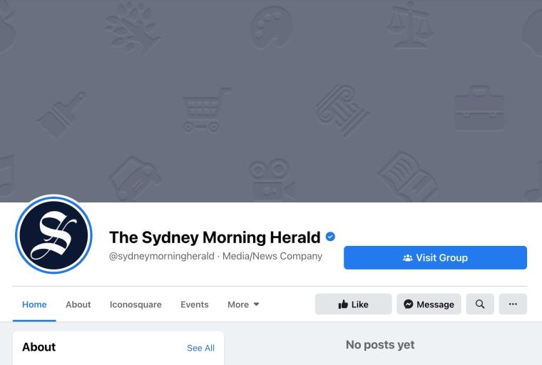 Screenshot of Sydney Morning Herald showing no posts