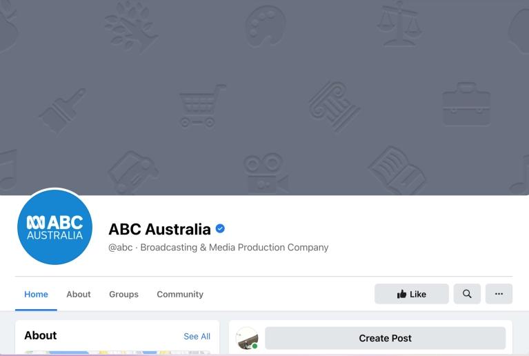 Screenshot of ABC Australia, showing no posts
