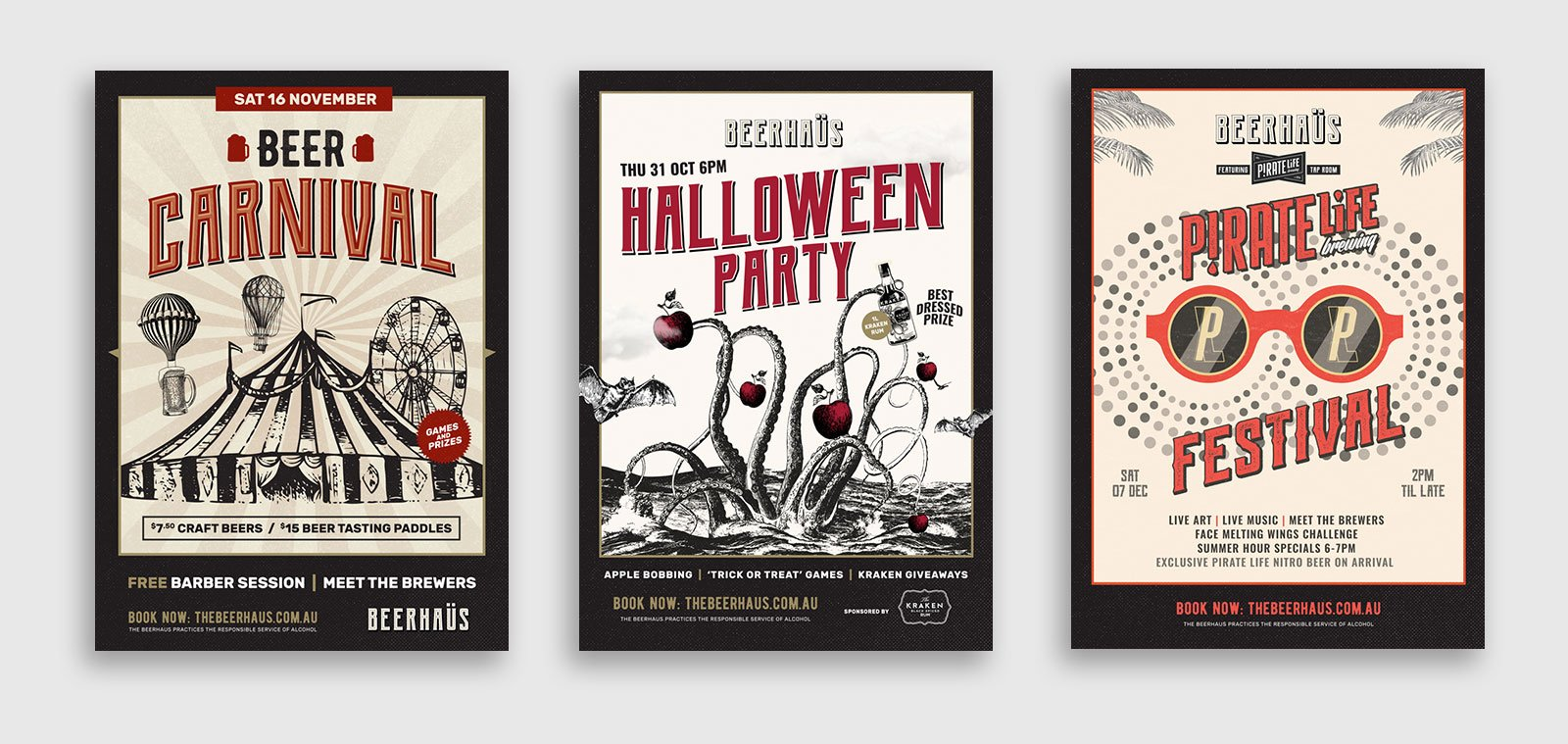 Three poster designs for Beerhaus