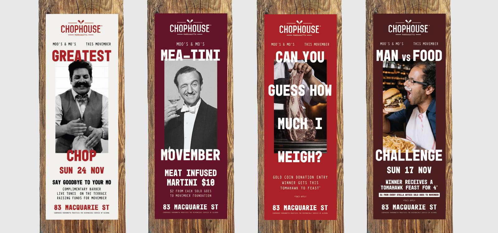 pole poster print design for a movember campaign at the chophouse
