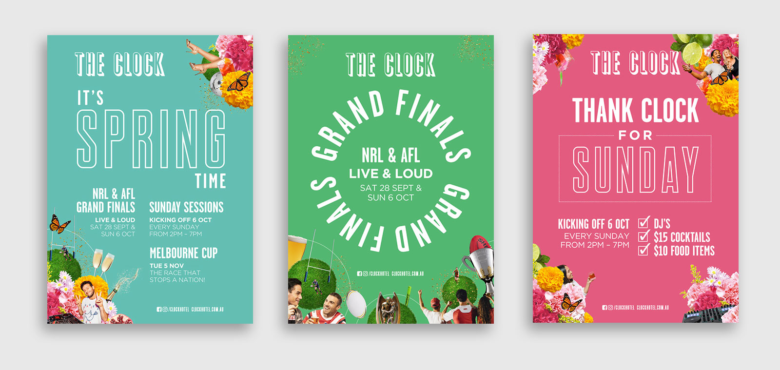 a series of three posters for a spring campaign at the clock hotel
