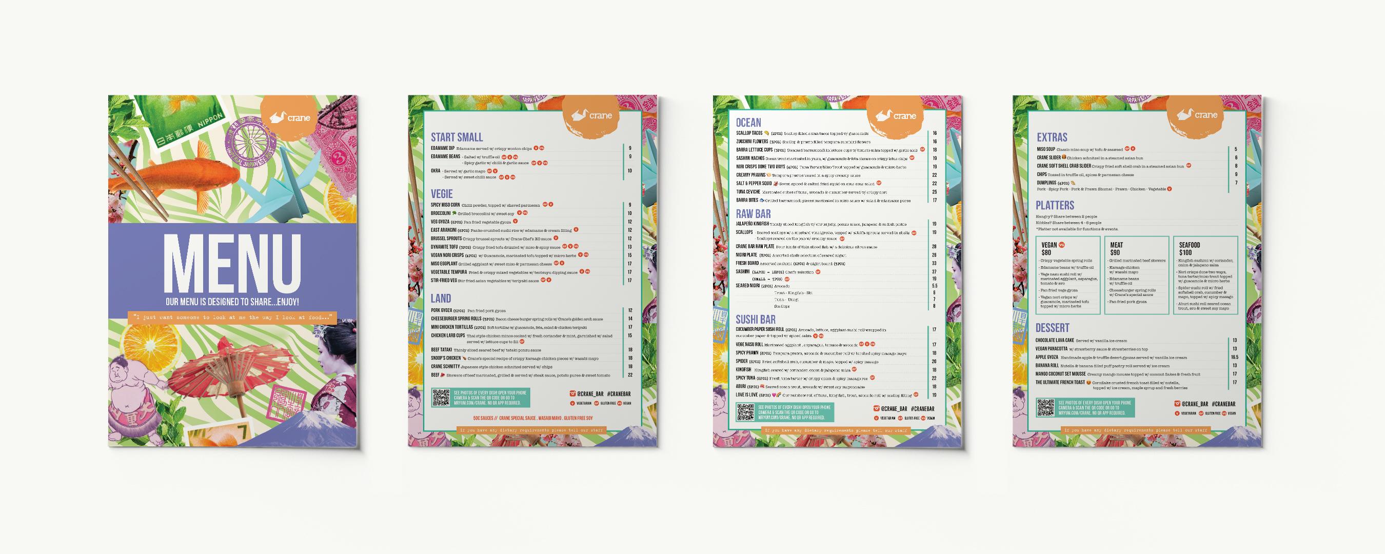 food and cocktail menu design