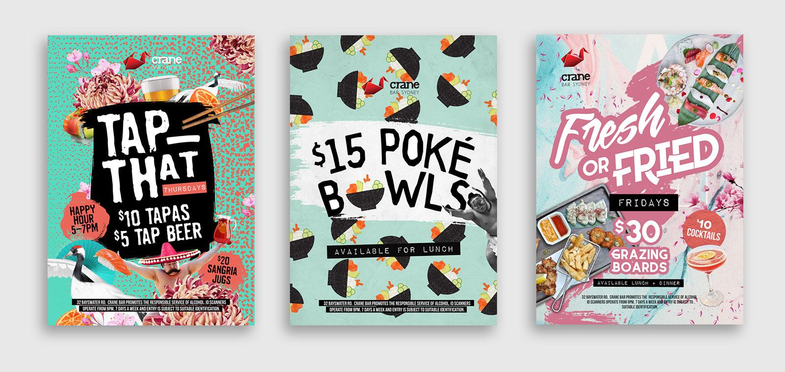 Graphic Design agency Three poster designs for Crane Bar