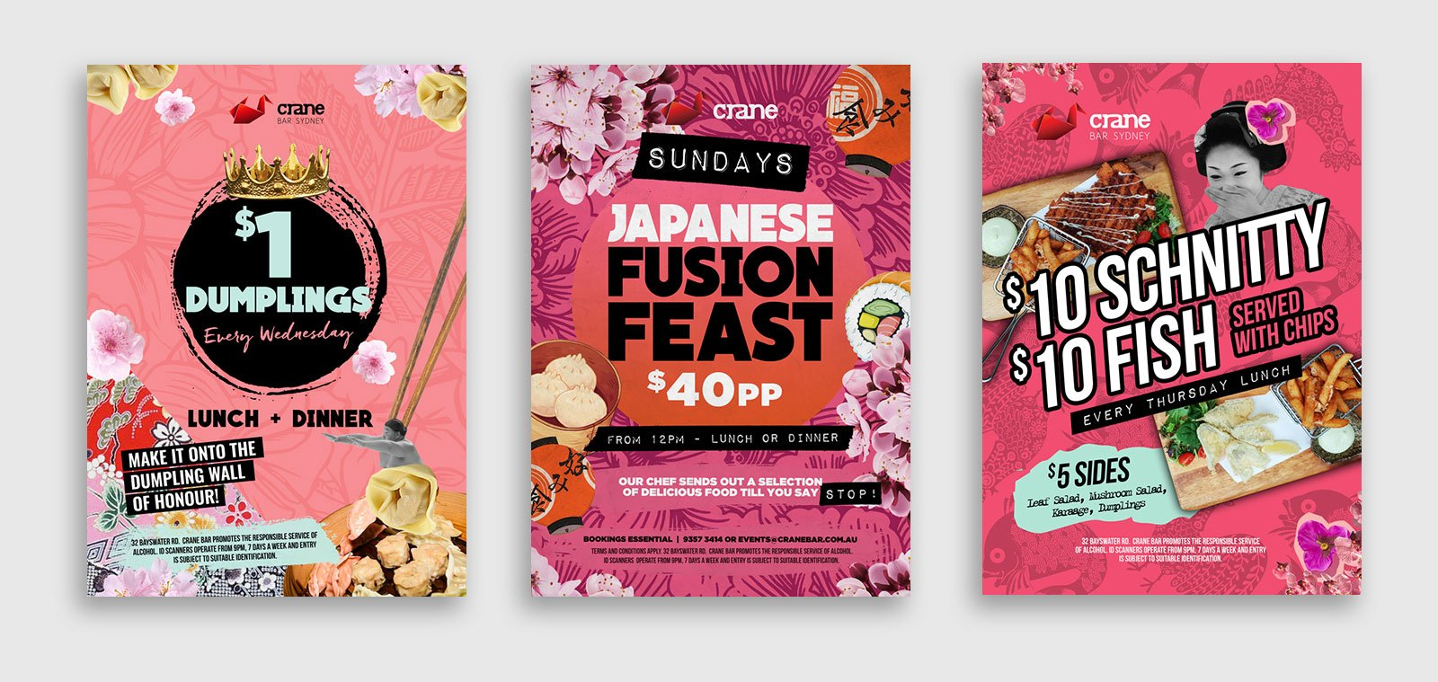Another three poster designs for Crane Bar