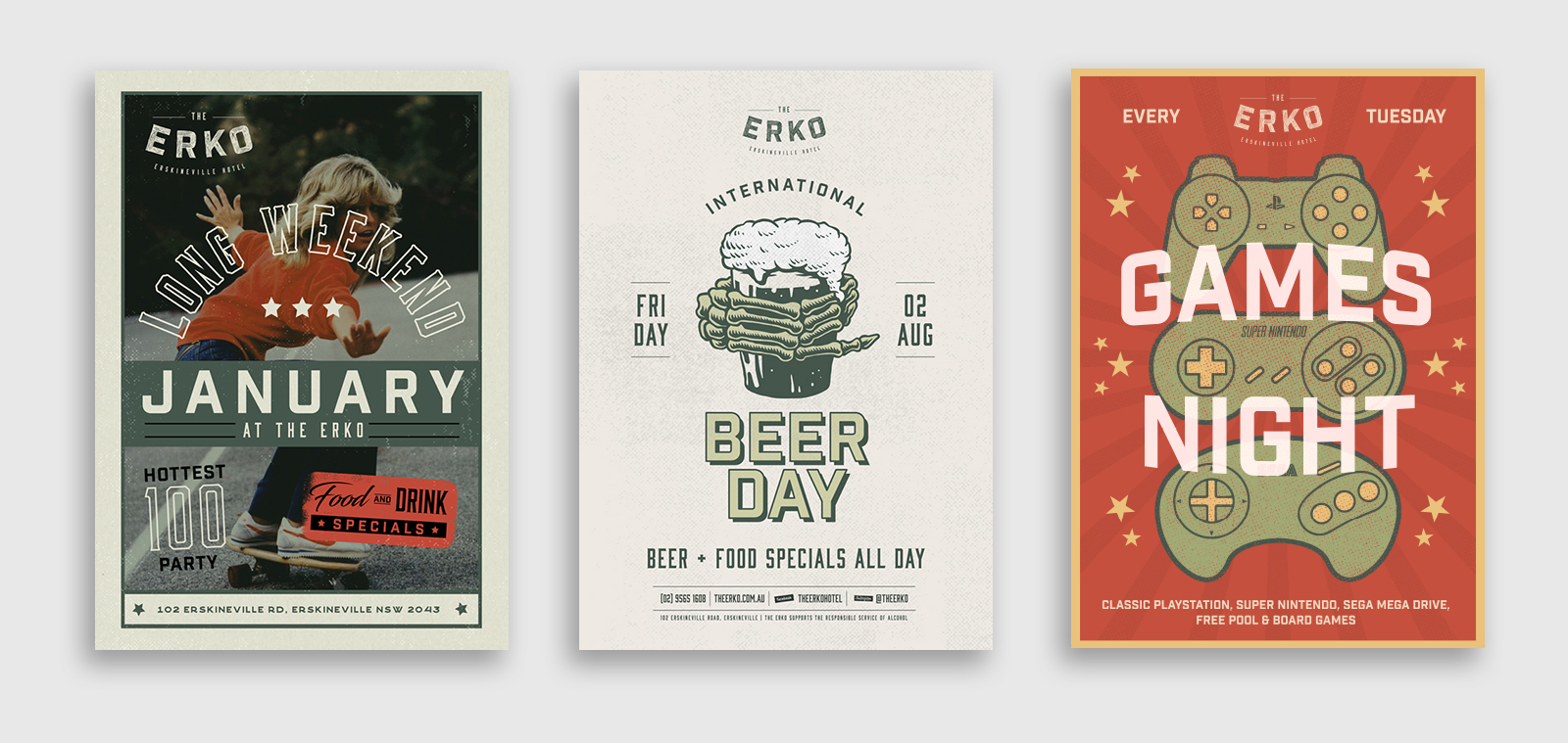 three poster designs for events at The Erksineville Hotel
