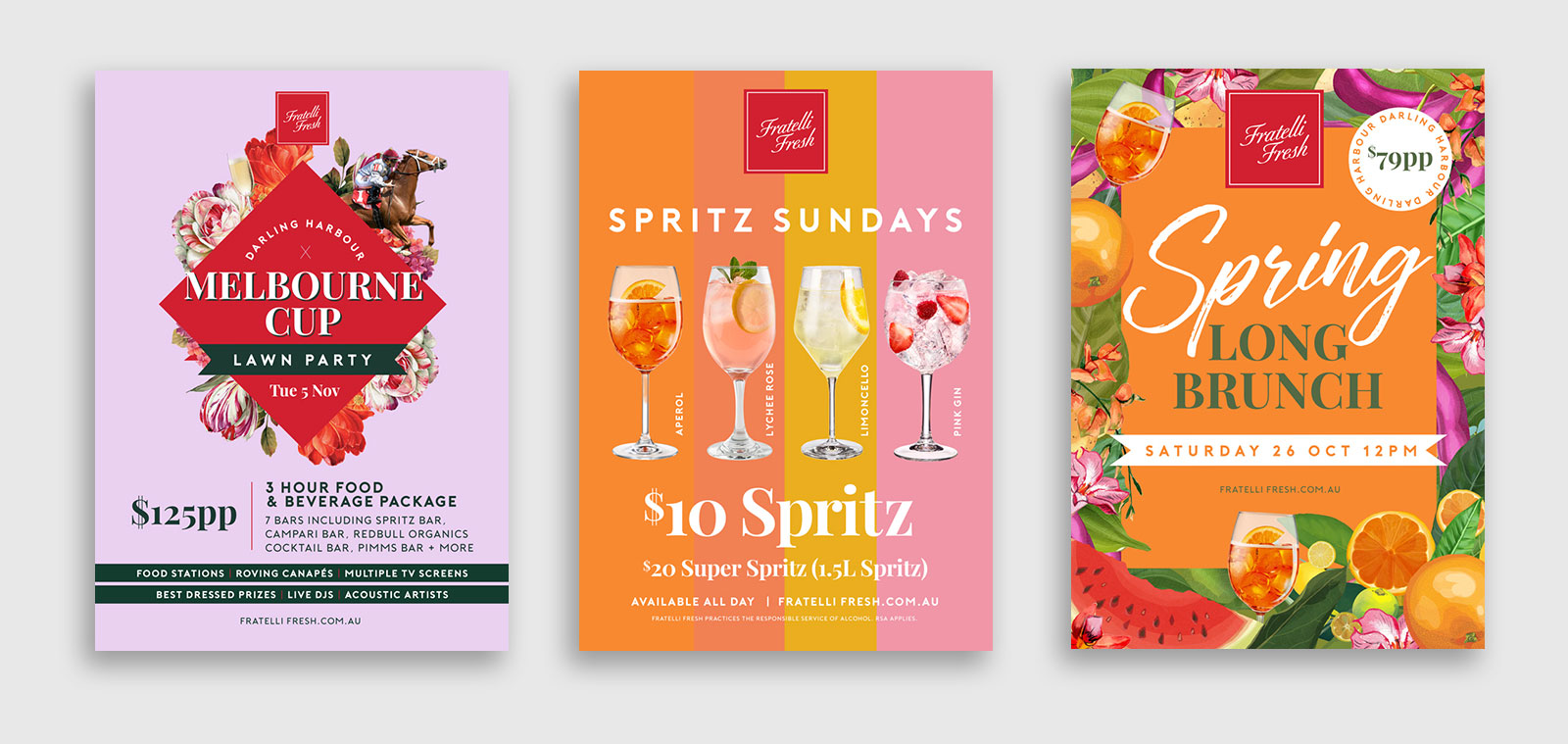 Three poster designs for Fratelli Fresh