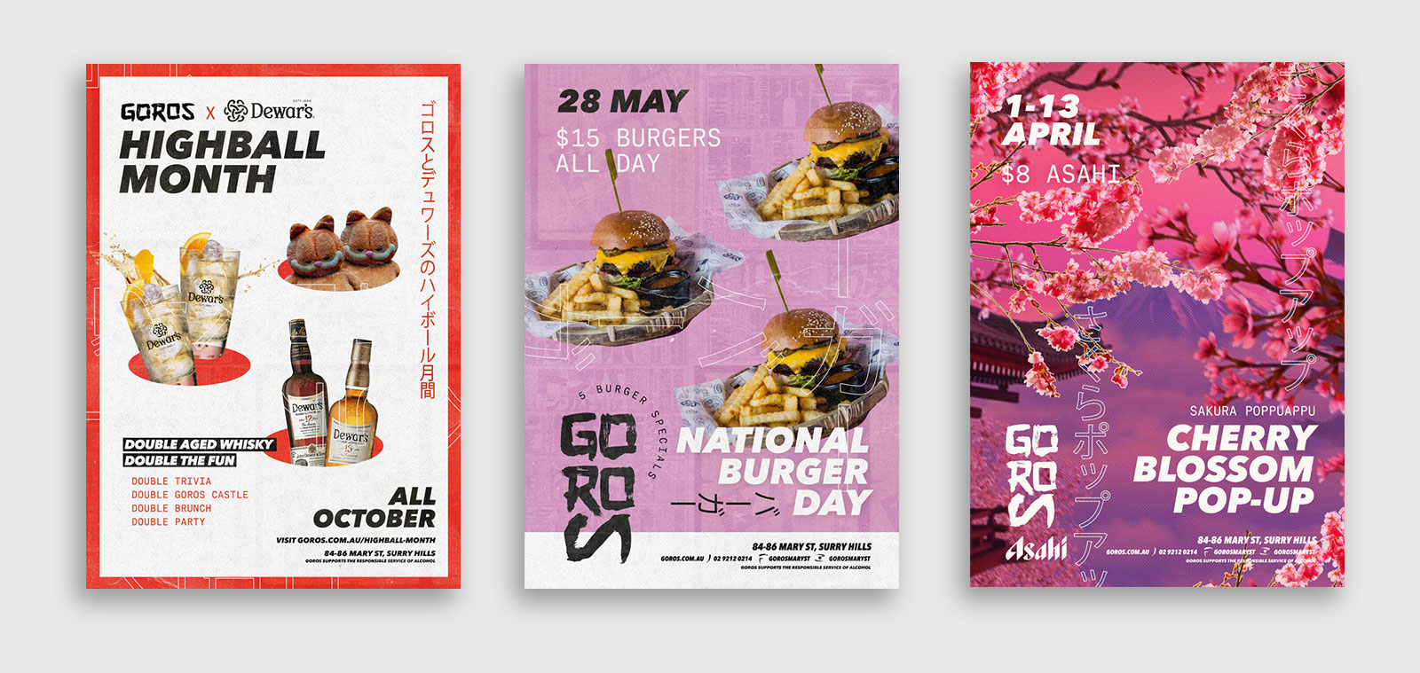 three different poster designs for events at goros