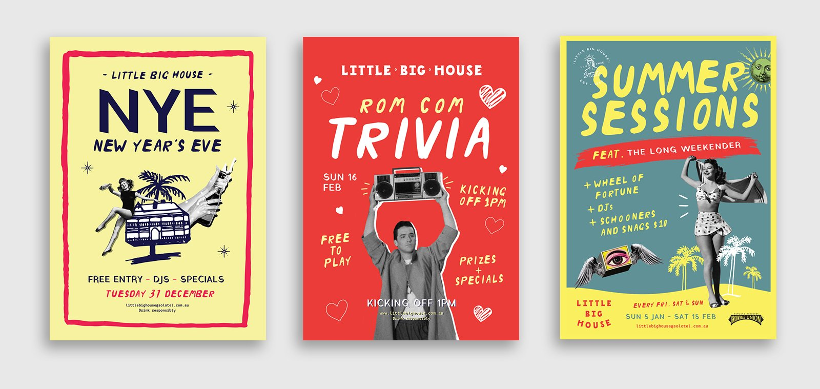 three different poster designs for events at the little big house venue in queensland