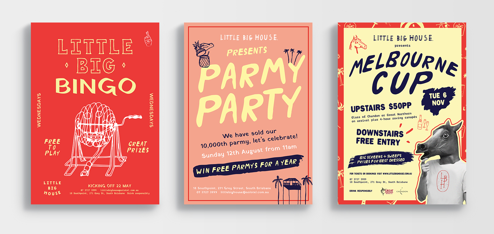 little big house brisbane bingo parmy party melbourne cup poster designs