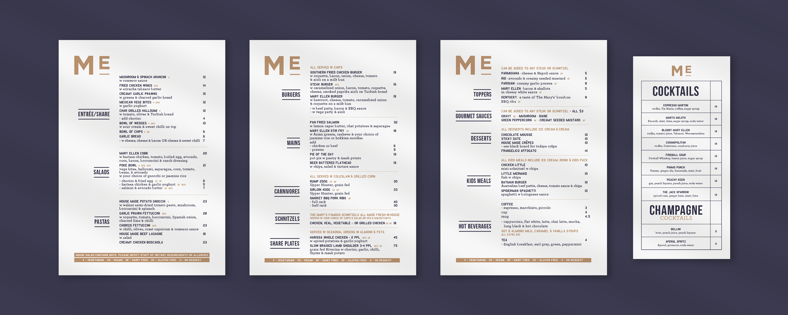 Food and cocktail menu design for Mary Ellen Hotel