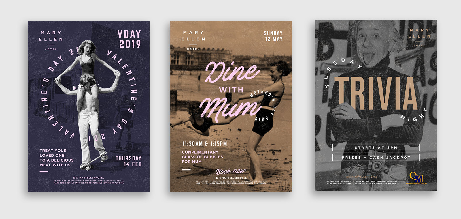 Three poster designs for Mary Ellen Hotel