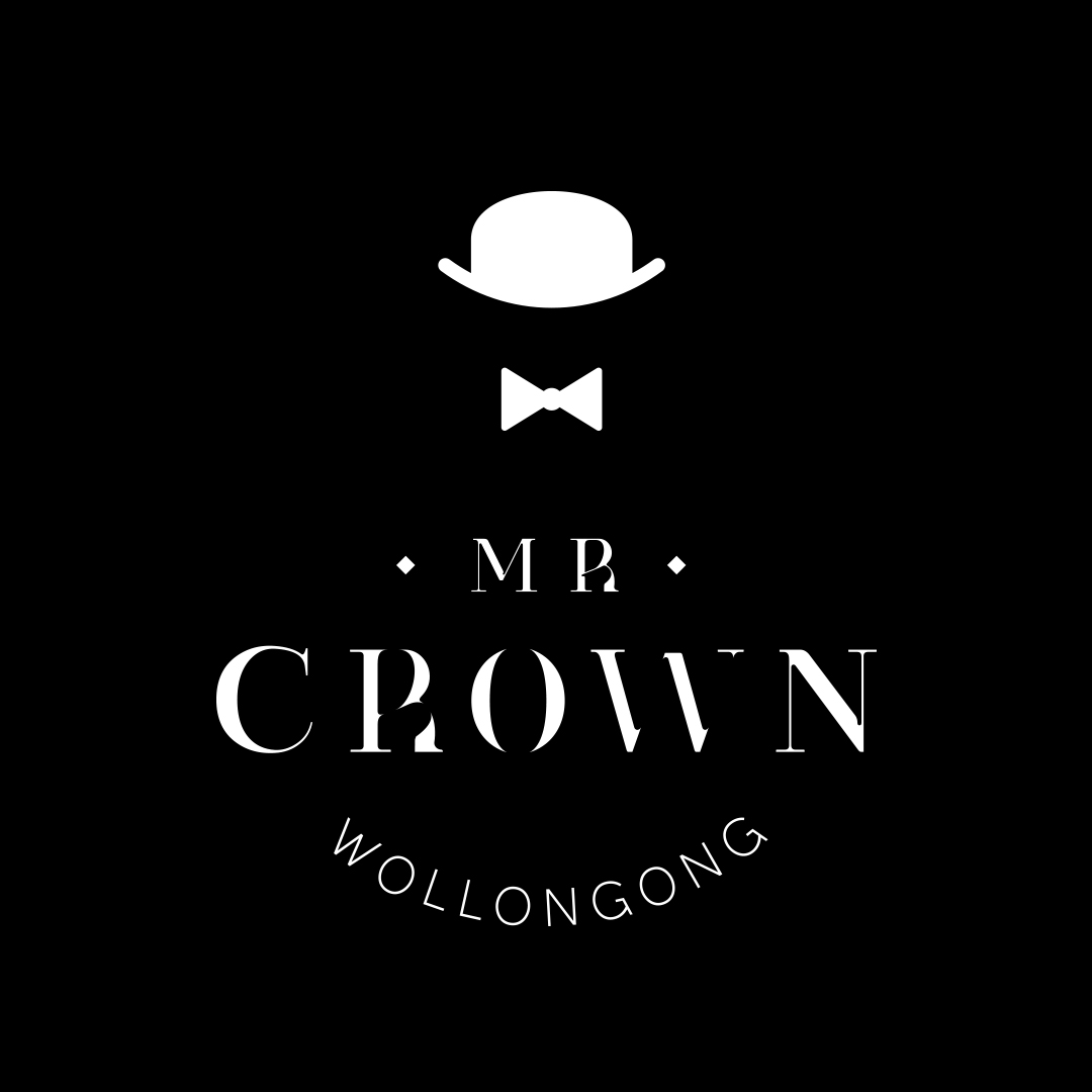 sydney-design-social-mr-crown-white-logo-wollongong-top-hat-bow-black-background