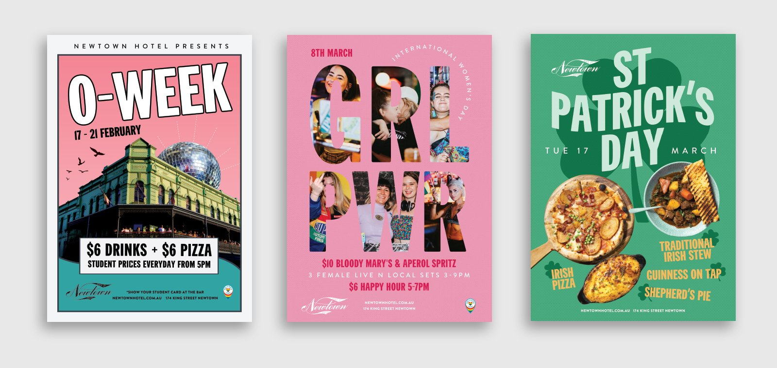 three different poster designs for events at the newtown hotel