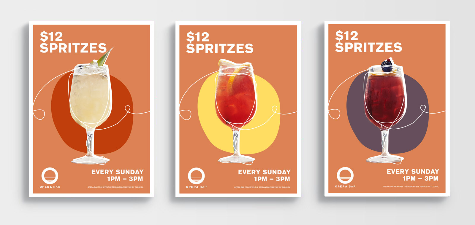 series of three poster designs for cocktail spritz promotions at opera bar sydney
