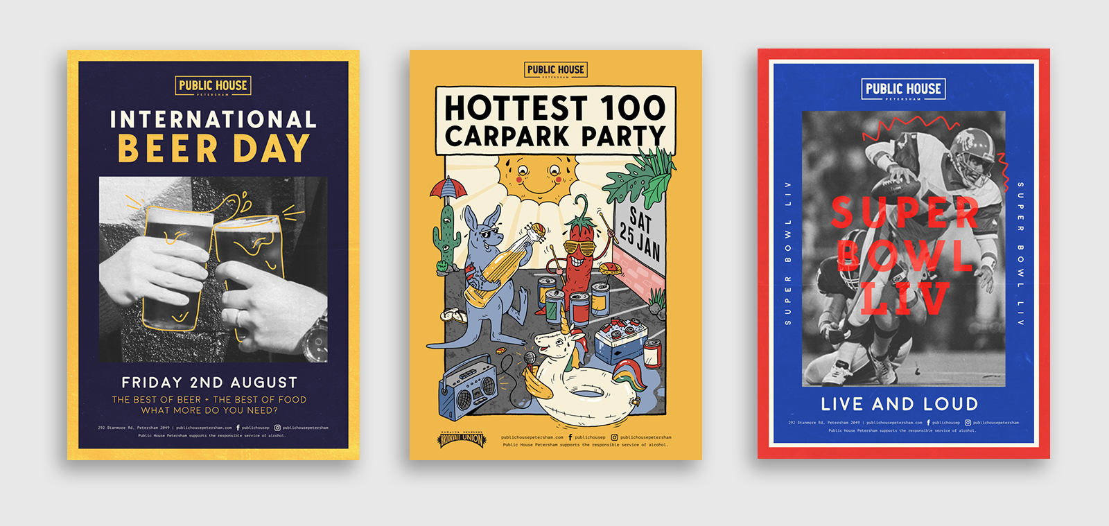 three different poster designs for events at public house petersham