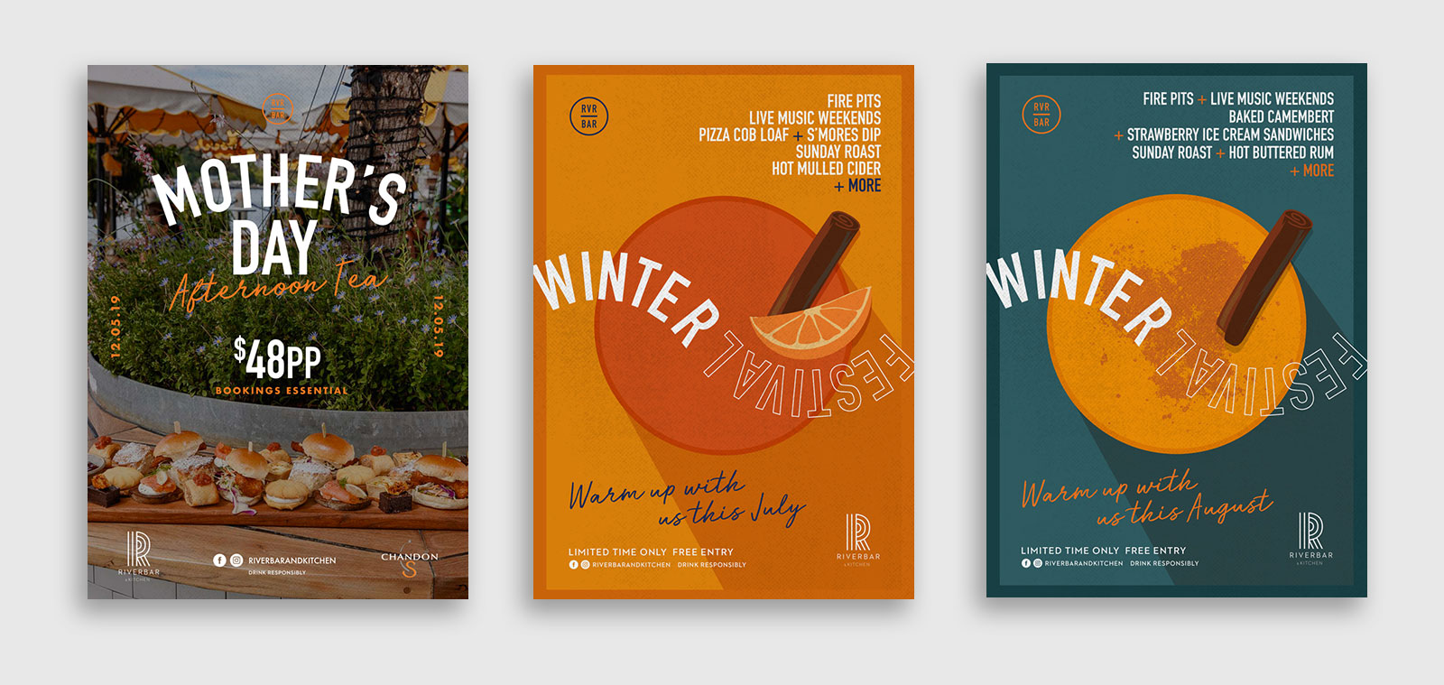 Three poster designs for Riverbar by sydney design social