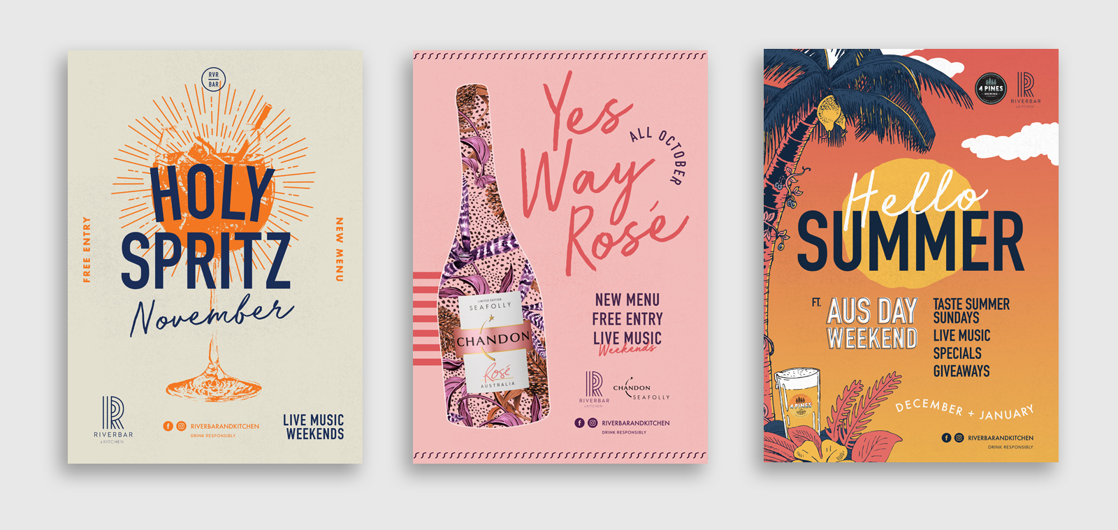 three poster designs for riverbar