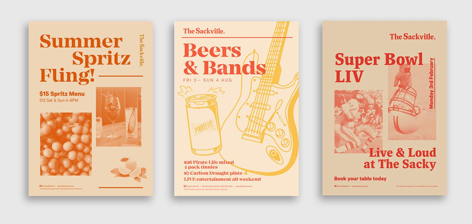 three poster designs for events at the sackville