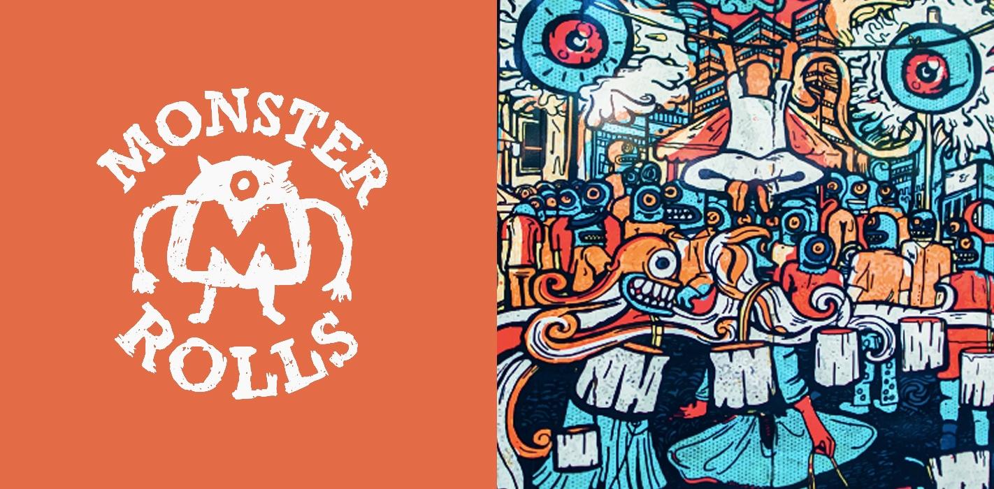 sydney design social monster rolls food truck logo white orange graffiti