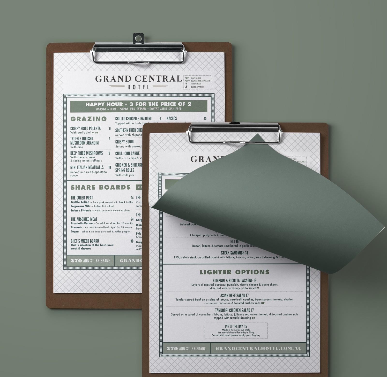 sydney design social grand central hotel brisbane menu olive green wooden clipboard