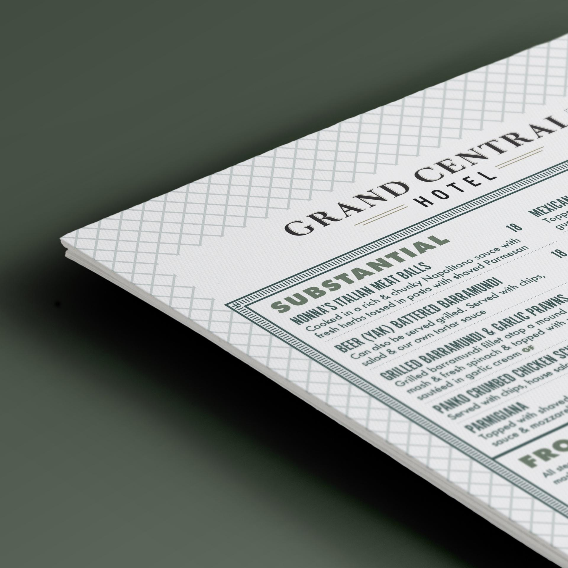 sydney design social grand central hotel brisbane menu olive green wooden clipboard close up