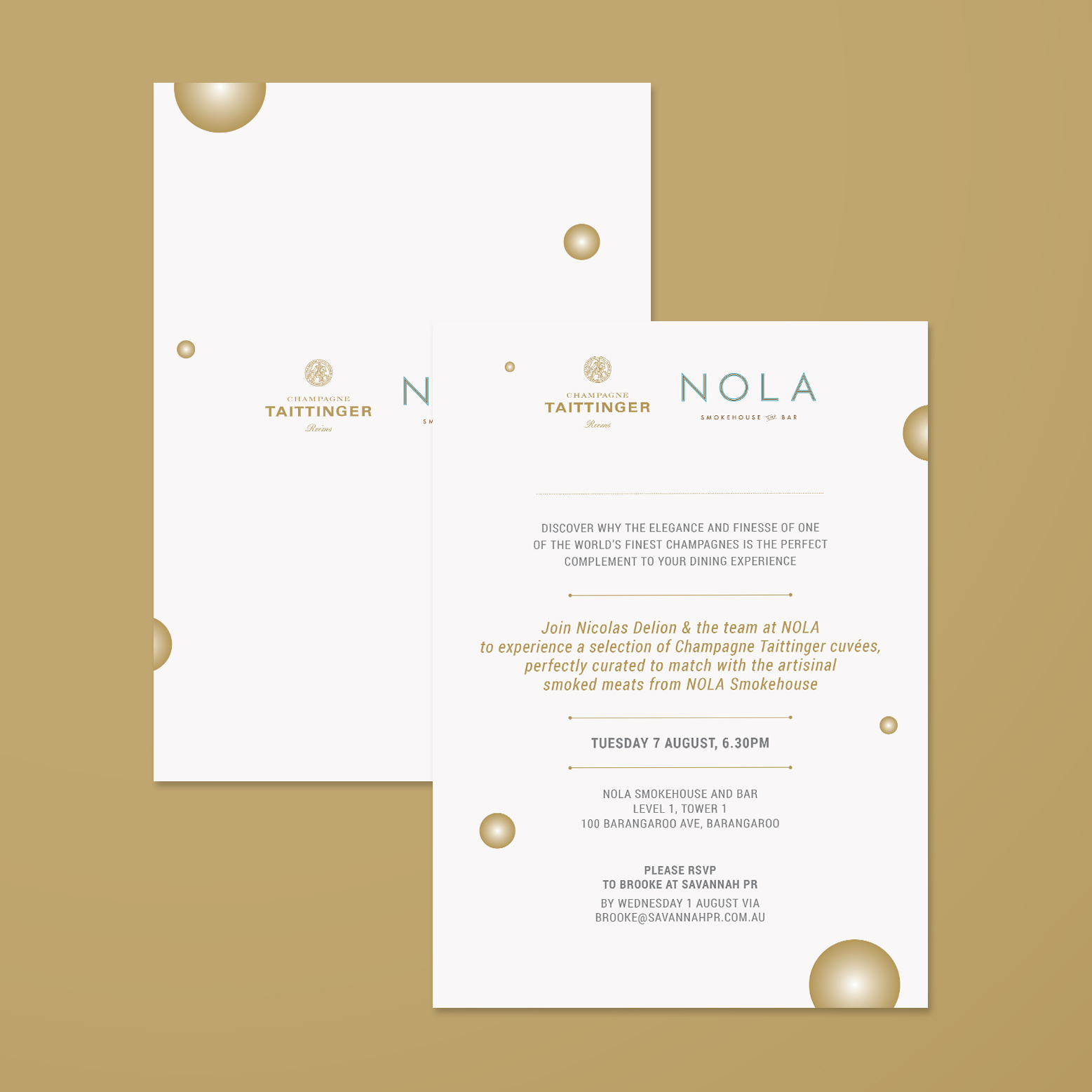 inivitation design for nola smokehouse champagne taittinger food experience