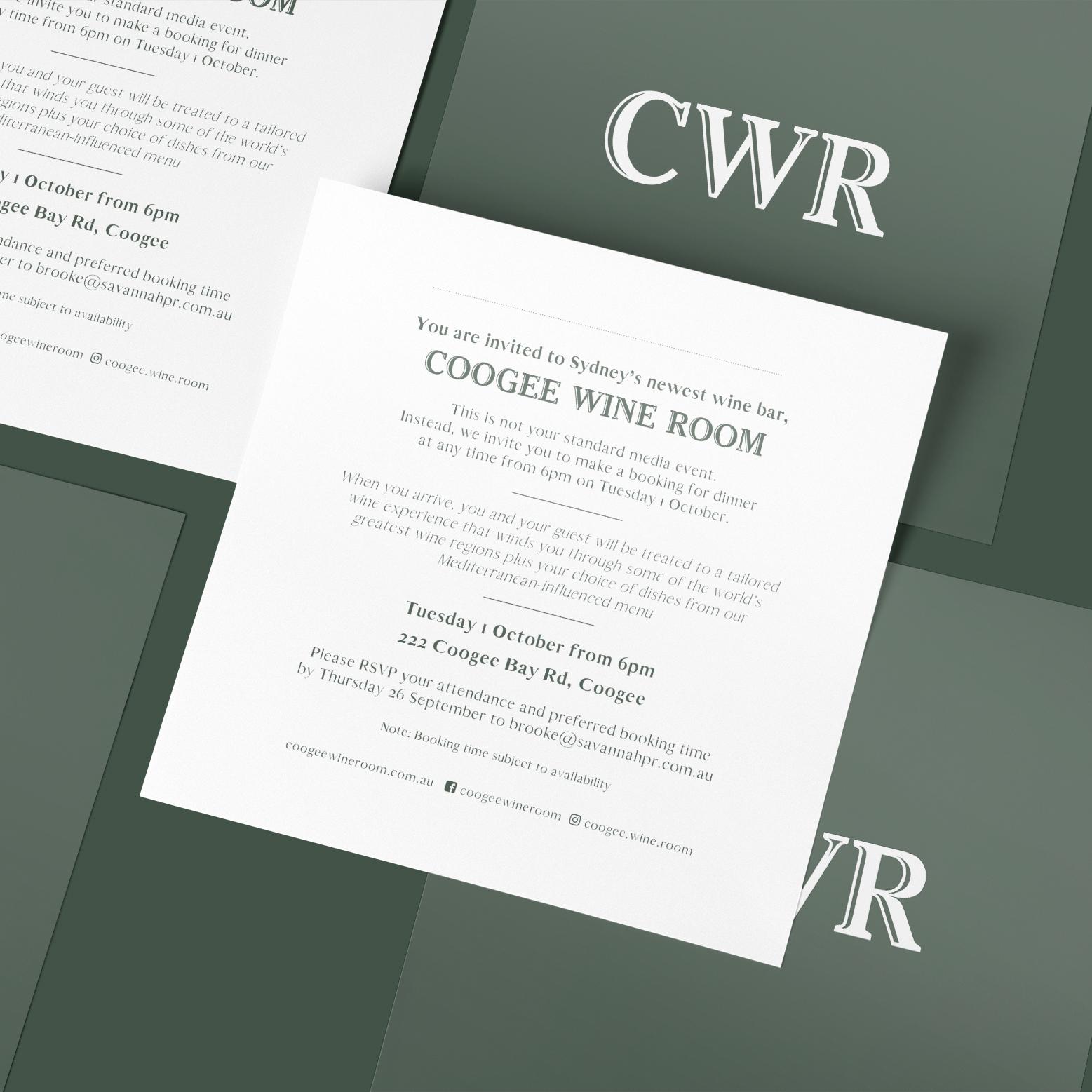 sydney design social coogee wine room logo branding pr invitation