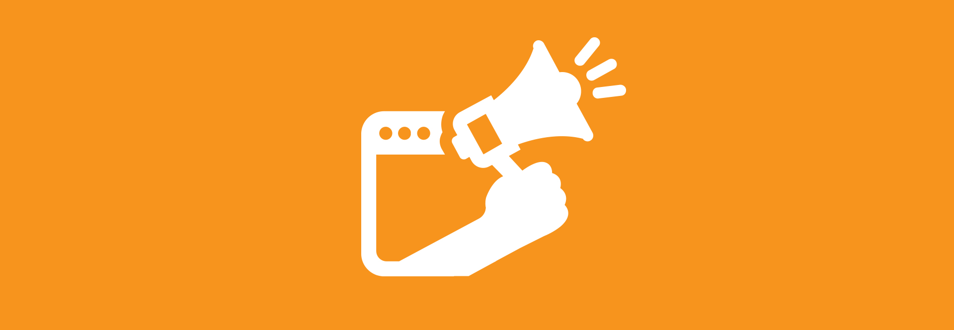 orange box with megaphone hand icon and web app digital marketing