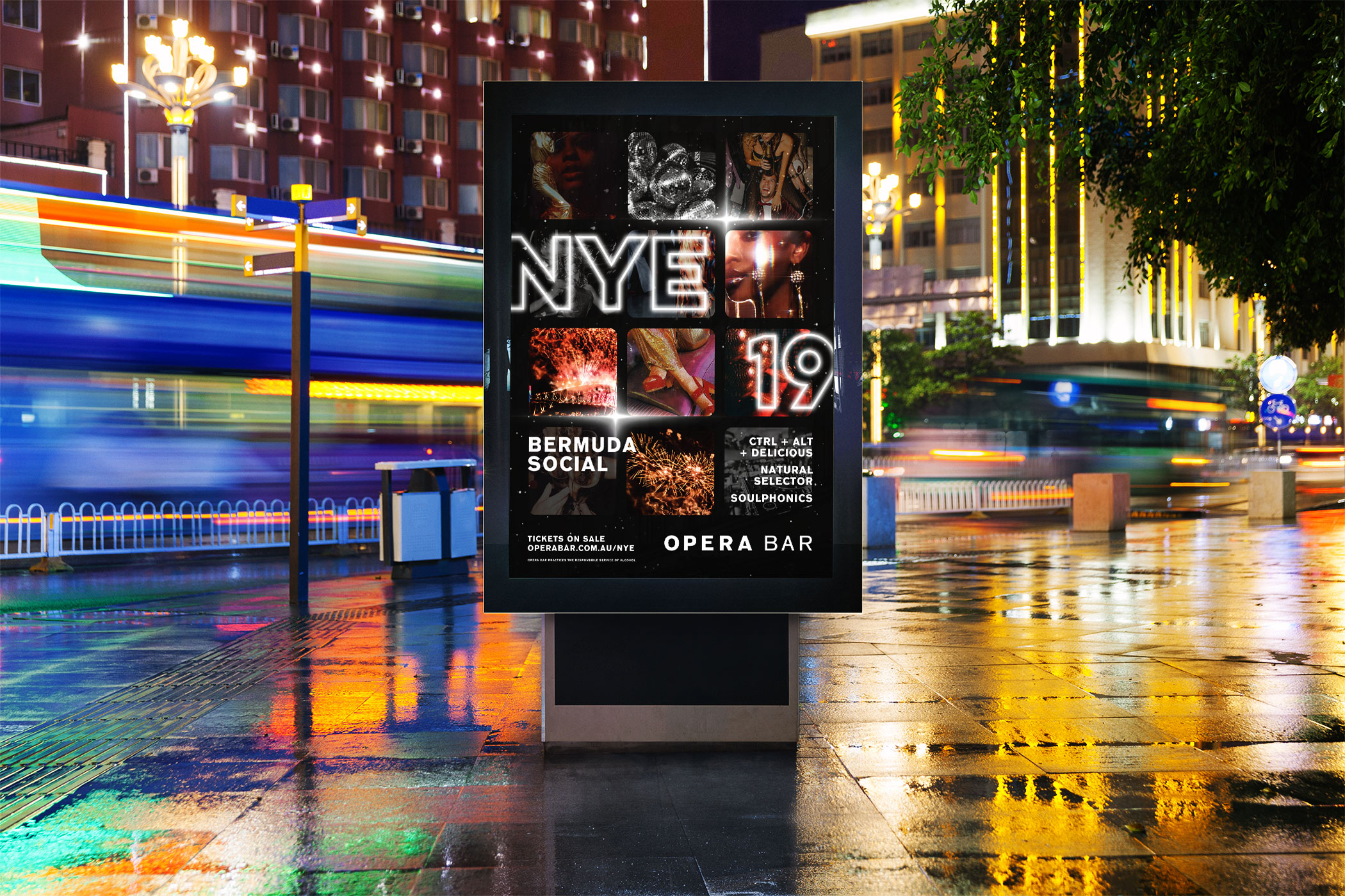 outdoor poster print design for a new years eve event at opera bar sydney