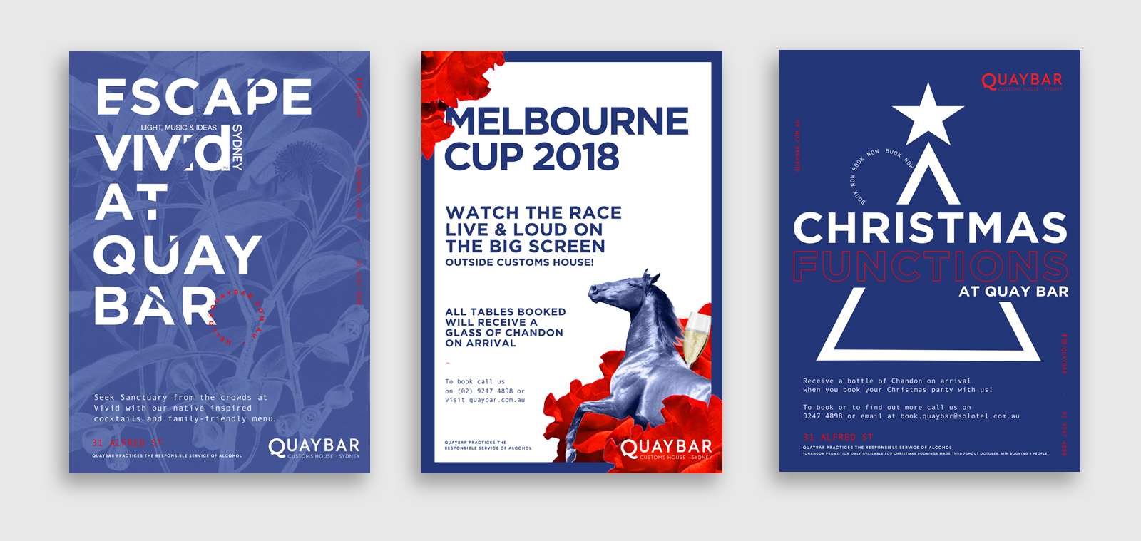 three poster designs for events at quay bar