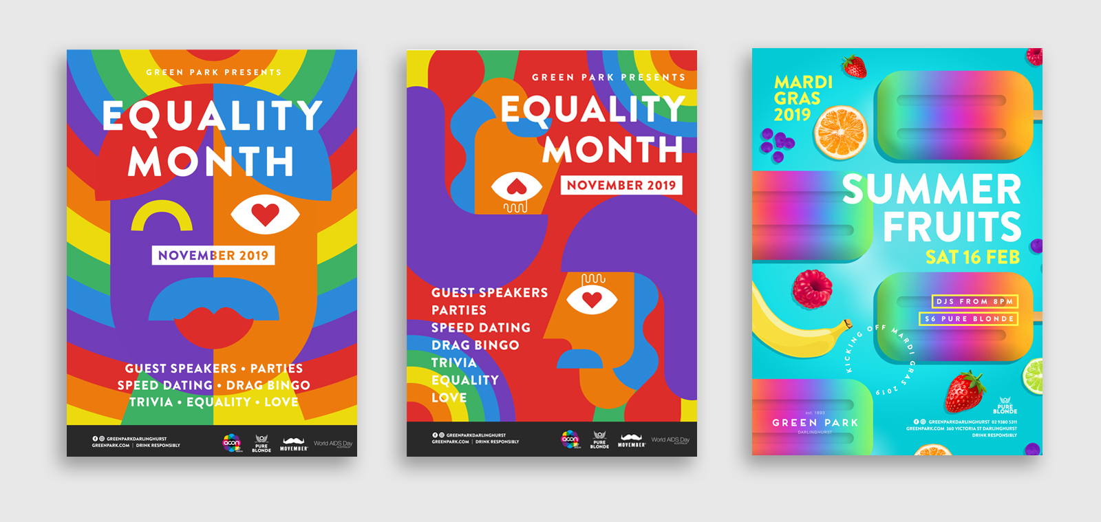 series of poster designs for mardi gras equality month at greenpark