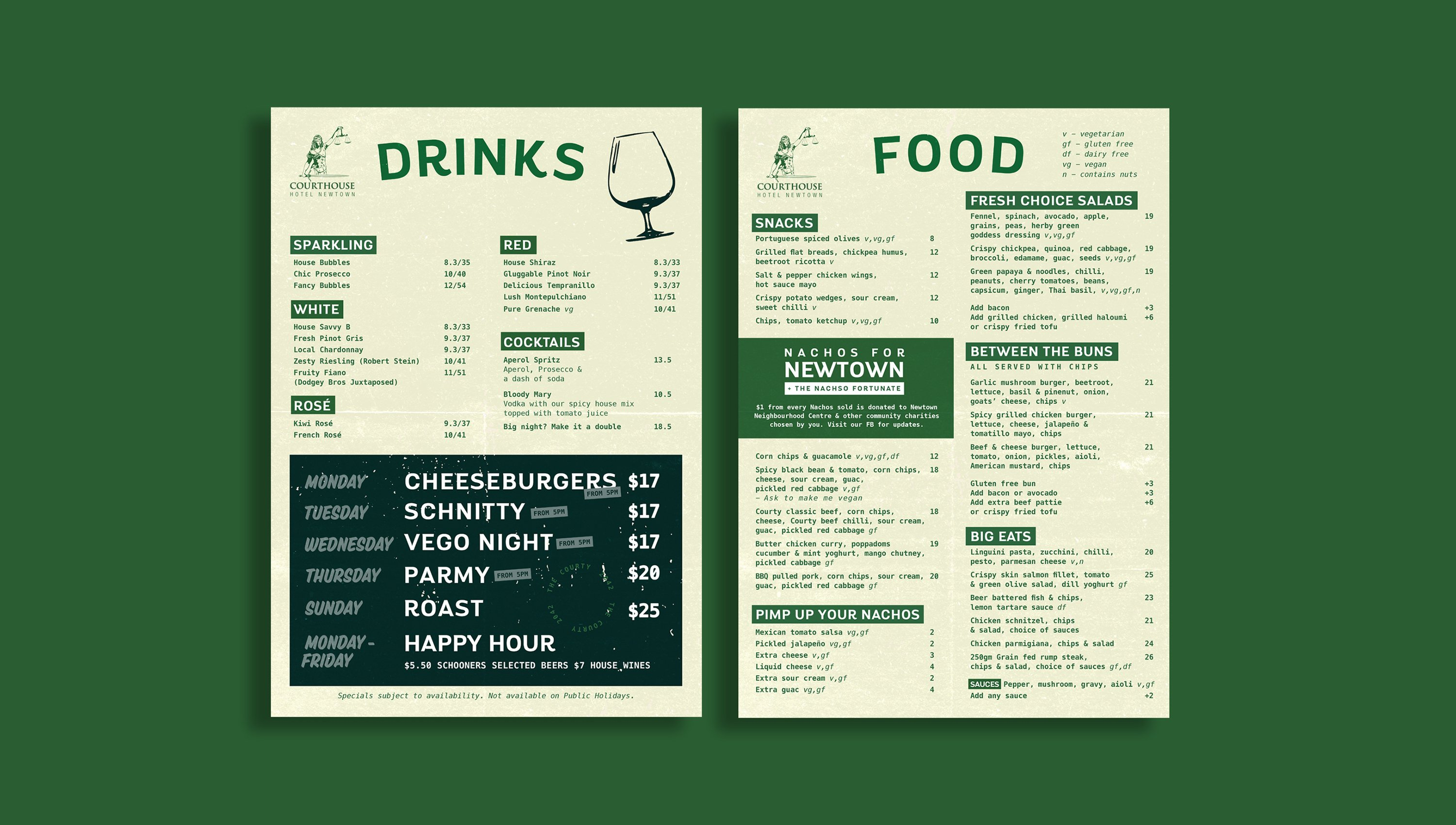food and drinks menu design for the courthouse hotel