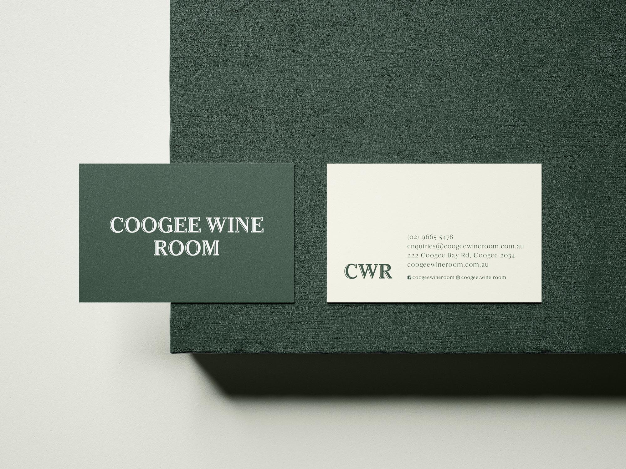 sydney design social coogee wine room logo branding business card