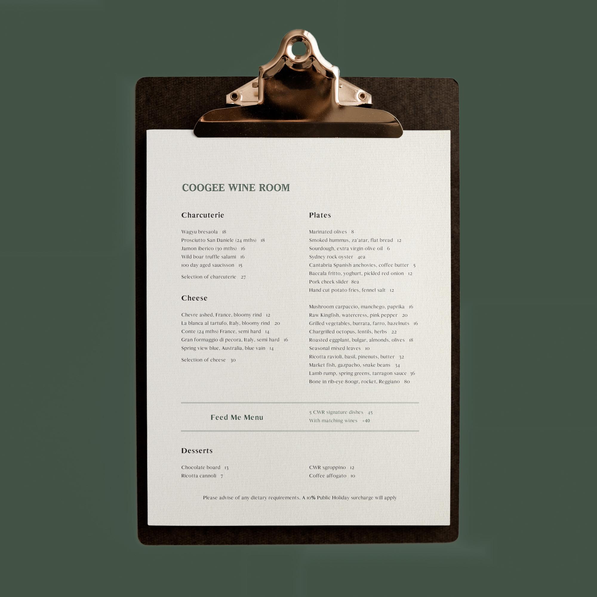 sydney design social coogee wine room menu design