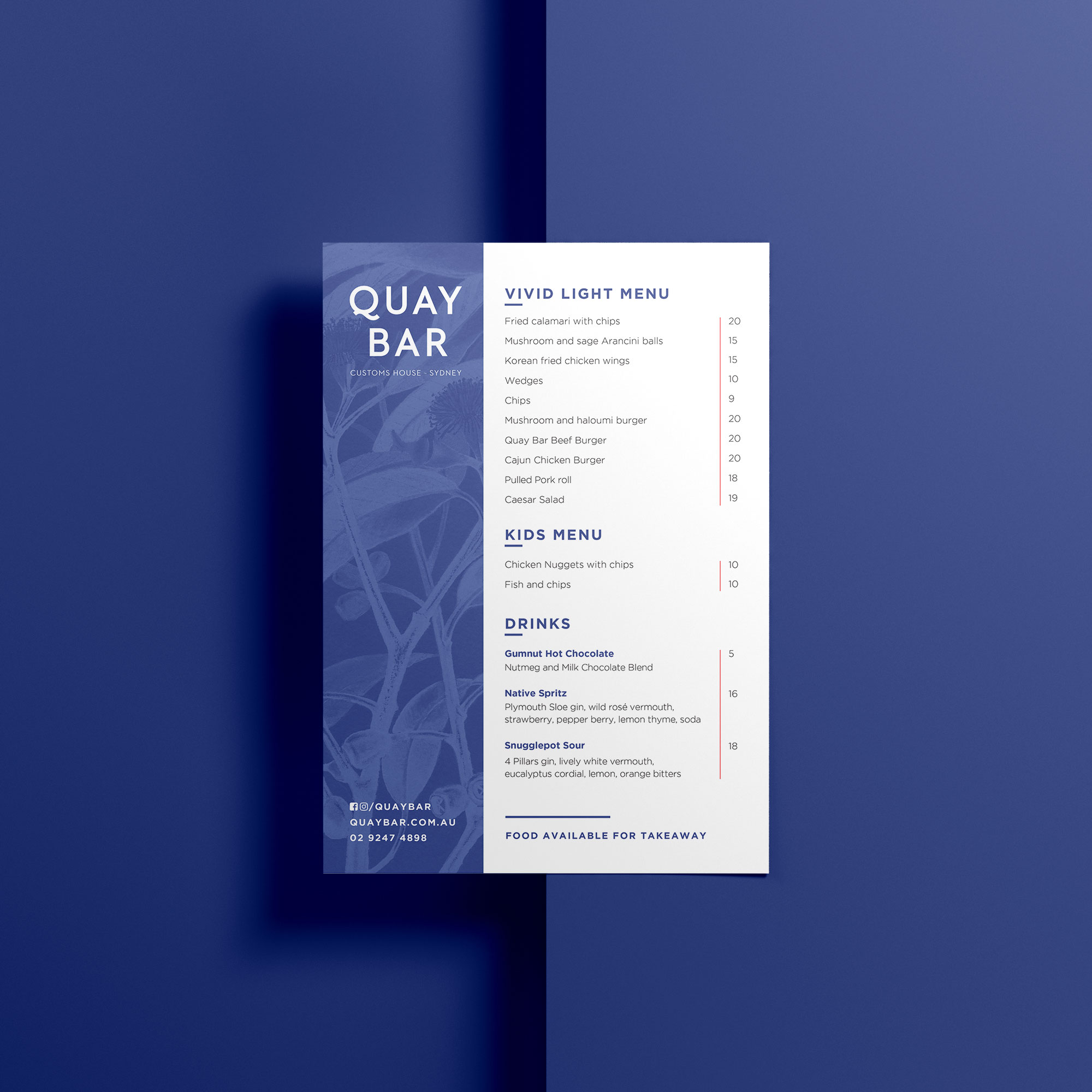 sydney design social quay bar menu design