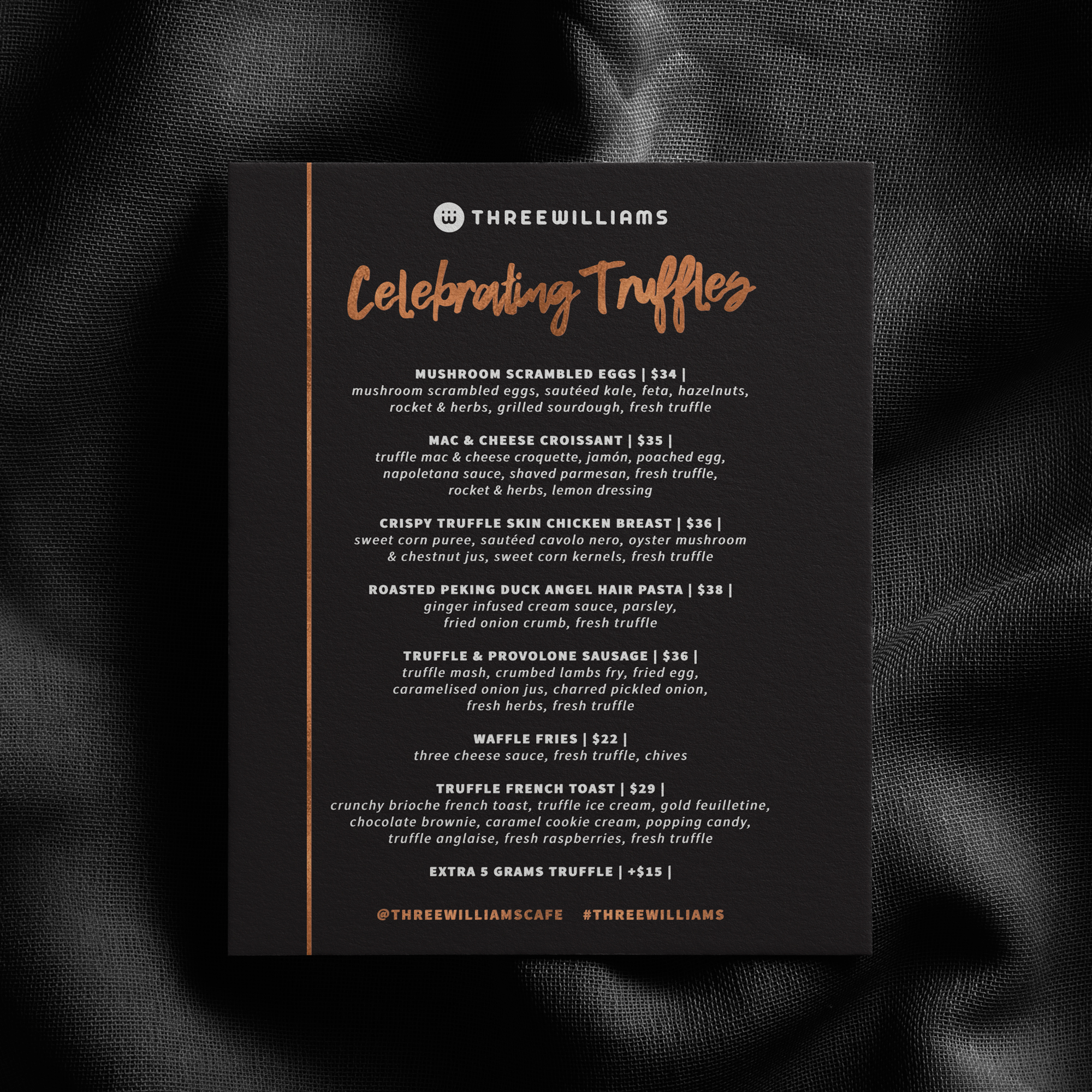 menu design for three williams in sydney